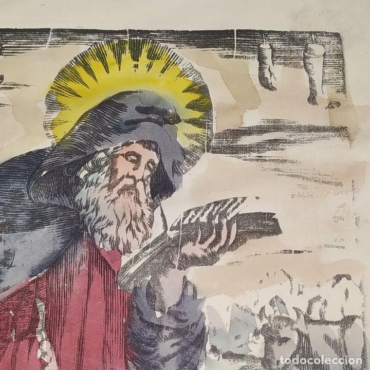 Arte: SAN ANTONIO ABAD. GRABADO ENRIQUECIDO A LA ACUARELA. ESPAÑA. SIGLO XIX - Foto 3 - 146385306