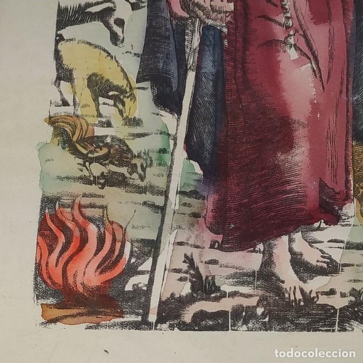 Arte: SAN ANTONIO ABAD. GRABADO ENRIQUECIDO A LA ACUARELA. ESPAÑA. SIGLO XIX - Foto 4 - 146385306
