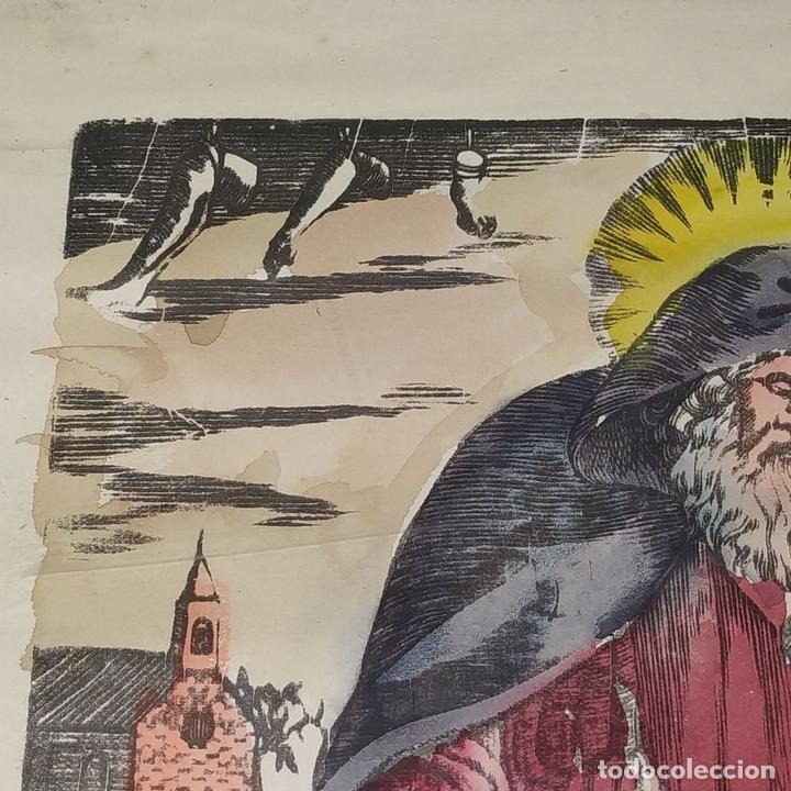 Arte: SAN ANTONIO ABAD. GRABADO ENRIQUECIDO A LA ACUARELA. ESPAÑA. SIGLO XIX - Foto 5 - 146385306