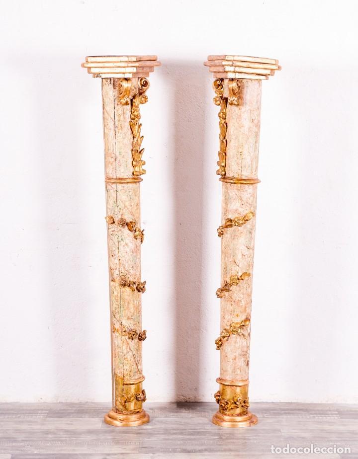 Arte: Columna Antigua De Retablo Policromada - Foto 2 - 146520866