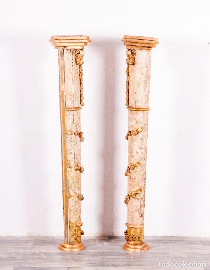 Arte: Columna Antigua De Retablo Policromada - Foto 3 - 146520866