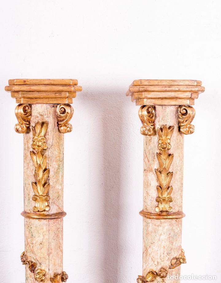 Arte: Columna Antigua De Retablo Policromada - Foto 5 - 146520866