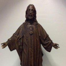 Arte: ANTIGUA TALLA EN MADERA REPRESENTANDO AL SAGRADO CORAZÓN DE JESÚS-44CM. Lote 146527286