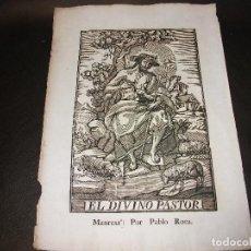 Arte: SIGLO XIX GRABADO XILOGRAFICO EL DIVINO PASTOR OVEJA - RELIGION MANRESA POR PABLO ROCA. Lote 146613346
