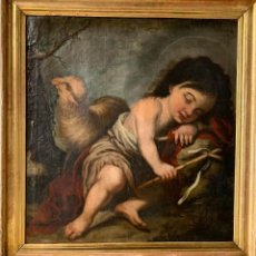 Arte: XVII - SAN JUANITO - SAN JUAN BAUTISTA - OLEO - ESCUELA SEVILLANA - 54X49CM - CUADRO ANTIGUO -. Lote 150388626
