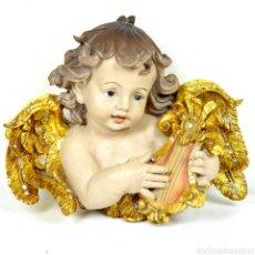 Arte: EXTRAORDINARIO ANGEL TOCANDO ARPA PARA PARED CON BELLOS DETALLES Y CIRCONITAS DECORATIVAS.BELLISIMA!. Lote 146740438