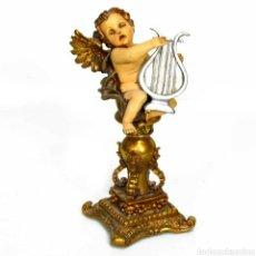Arte: BELLISIMA FIGURA ANGEL QUERUBIN SOBRE PEANA TOCANDO ARPA.PERTENECE AL CORO CELESTIAL.UNA MARAVILLA!. Lote 146744574