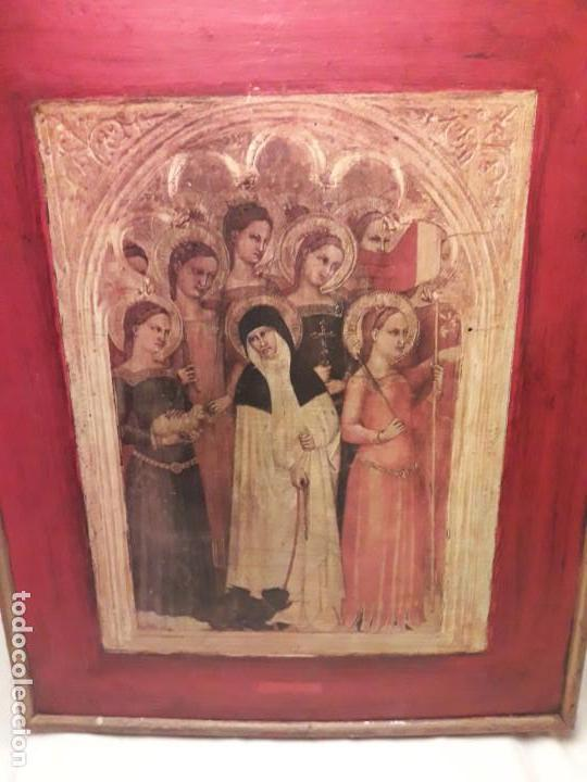 CUADRO REPRODUCCIÓN SANTA CATALINA DE SIENA Y OTRAS SANTAS DE GIOVANNI DA MILANO (Arte - Arte Religioso - Pintura Religiosa - Otros)