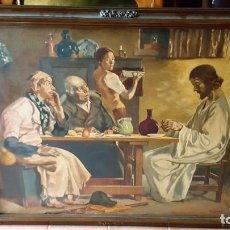 Arte: JESÚS PARTIENDO EL PAN. OLEO SOBRE LIENZO, ENMARCADO.. Lote 146786342