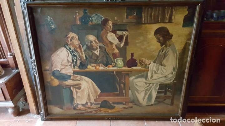 Arte: JESÚS PARTIENDO EL PAN. Oleo sobre lienzo, enmarcado. - Foto 2 - 146786342