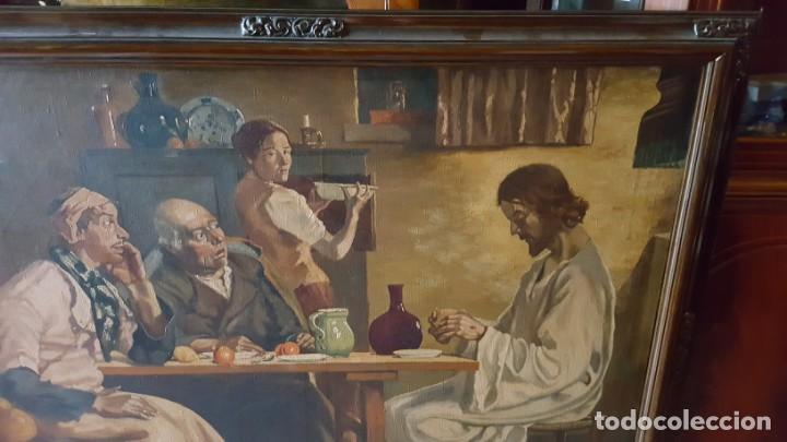 Arte: JESÚS PARTIENDO EL PAN. Oleo sobre lienzo, enmarcado. - Foto 3 - 146786342