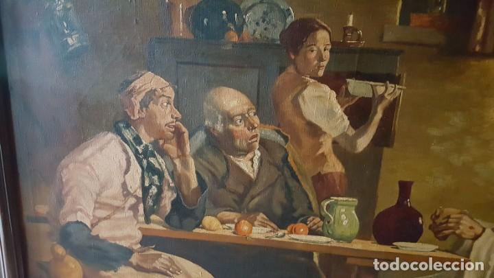 Arte: JESÚS PARTIENDO EL PAN. Oleo sobre lienzo, enmarcado. - Foto 4 - 146786342