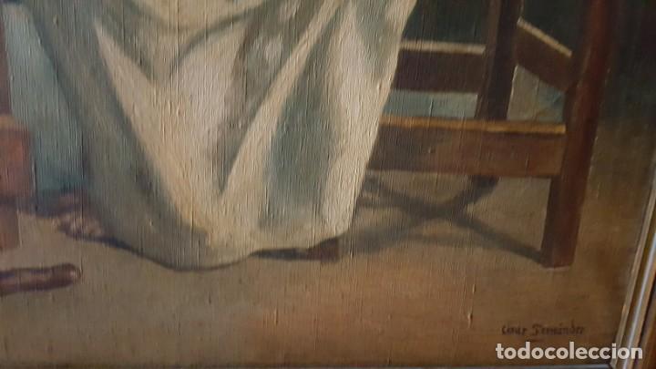 Arte: JESÚS PARTIENDO EL PAN. Oleo sobre lienzo, enmarcado. - Foto 5 - 146786342