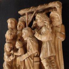 Arte: LA SAGRADA FAMILIA, SAN JUANITO, STA ISABEL Y S. ZACARÍAS. RELIEVE EN MADERA. S. XV - XVI. 72 CM.. Lote 146804754