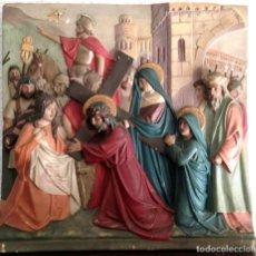 Arte: ANTIGUO Y ORIGINAL RELIVE DE ESTUCO CAMINO DEL CALVARIO. CRISTO CON LA CRUZ A CUESTAS Y LA VERÓNICA. Lote 146867570