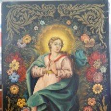 Arte: VIRGEN RODEADA DE FLORES, OLEO SOBRE TABLA. Lote 146873286