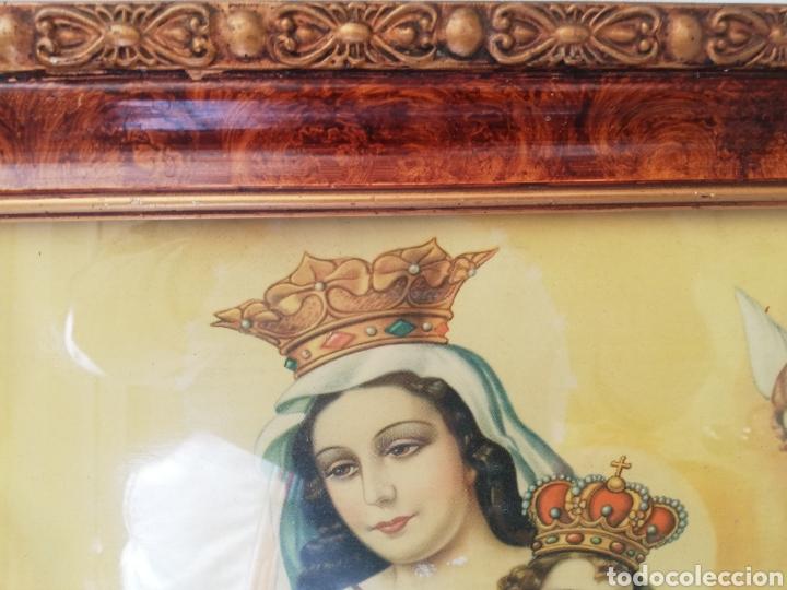 Arte: MARCO ANTIGUO DE MADERA Y ESTUCO CON LITOGRAFÍA DE LA VIRGEN DEL CARMEN. - Foto 9 - 147016772