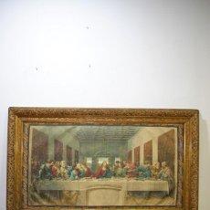 Arte: CUADRO ANTIGUO TAPIZ PINTADO ÚLTIMA CENA DE JESÚS. Lote 147132674