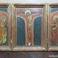 Arte: IMPORTANTE TRIPTICO RELIGIOSO EN ACUARELA MUY ANTIGUO, TERMINADO CON PAN DE ORO, 60X40,5 CMS. Lote 184522462