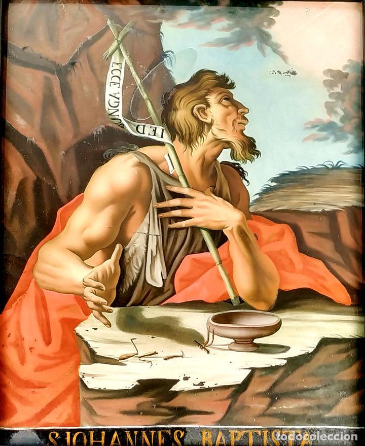 SAN JUAN BAUTISTA. PINTURA SOBRE CRISTAL. MARCO ANTIGUO. ANÓNIMO. ESPAÑA. SIGLO XVIII (Arte - Arte Religioso - Pintura Religiosa - Oleo)