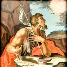 Arte: SAN JUAN BAUTISTA. PINTURA SOBRE CRISTAL. MARCO ANTIGUO. ANÓNIMO. ESPAÑA. SIGLO XVIII. Lote 147163430