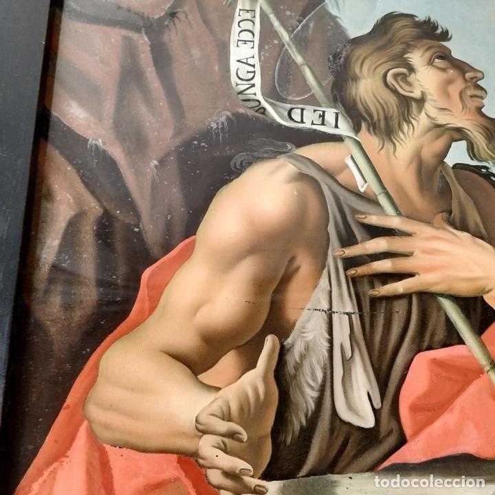 Arte: SAN JUAN BAUTISTA. PINTURA SOBRE CRISTAL. MARCO ANTIGUO. ANÓNIMO. ESPAÑA. SIGLO XVIII - Foto 5 - 147163430