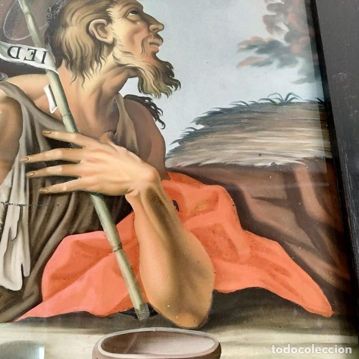 Arte: SAN JUAN BAUTISTA. PINTURA SOBRE CRISTAL. MARCO ANTIGUO. ANÓNIMO. ESPAÑA. SIGLO XVIII - Foto 7 - 147163430