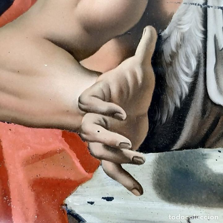 Arte: SAN JUAN BAUTISTA. PINTURA SOBRE CRISTAL. MARCO ANTIGUO. ANÓNIMO. ESPAÑA. SIGLO XVIII - Foto 9 - 147163430
