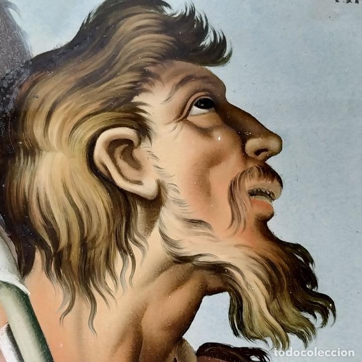 Arte: SAN JUAN BAUTISTA. PINTURA SOBRE CRISTAL. MARCO ANTIGUO. ANÓNIMO. ESPAÑA. SIGLO XVIII - Foto 10 - 147163430