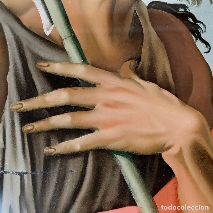 Arte: SAN JUAN BAUTISTA. PINTURA SOBRE CRISTAL. MARCO ANTIGUO. ANÓNIMO. ESPAÑA. SIGLO XVIII - Foto 11 - 147163430