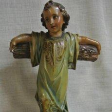 Arte - Antigua figura. Niño Jesús de la Cruz. Estuco de Olot - 147178558