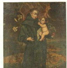 Arte: OLEO SOBRE TELA ESCUELA ESPAÑOLA - SAN ANTONIO DE PADUA Y NIÑO JESÚS - SXVII. Lote 147354354