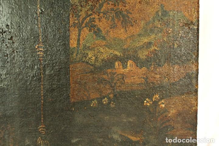 Arte: Oleo sobre tela Escuela española - San Antonio de Padua y Niño Jesús - SXVII - Foto 6 - 147354354