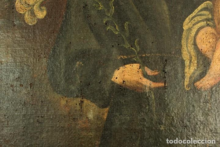 Arte: Oleo sobre tela Escuela española - San Antonio de Padua y Niño Jesús - SXVII - Foto 7 - 147354354