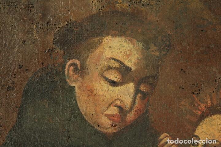 Arte: Oleo sobre tela Escuela española - San Antonio de Padua y Niño Jesús - SXVII - Foto 3 - 147354354