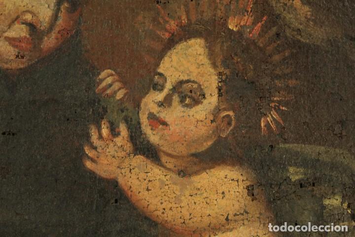 Arte: Oleo sobre tela Escuela española - San Antonio de Padua y Niño Jesús - SXVII - Foto 2 - 147354354