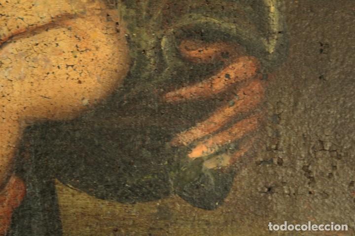 Arte: Oleo sobre tela Escuela española - San Antonio de Padua y Niño Jesús - SXVII - Foto 9 - 147354354
