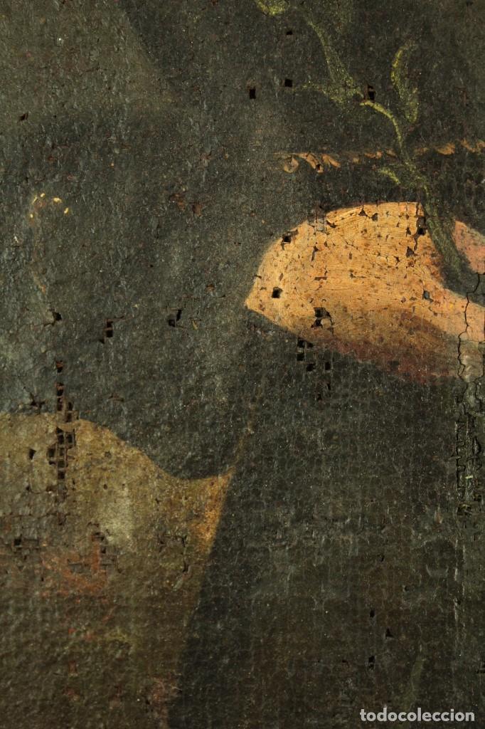 Arte: Oleo sobre tela Escuela española - San Antonio de Padua y Niño Jesús - SXVII - Foto 12 - 147354354
