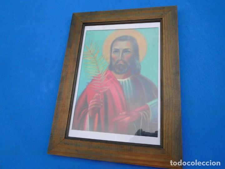 SAN JUDAS TADEO, LÁMINA SOBRE TABLA 28 X 17, MARCO DE MADERA, 36 X 27 CM, CRISTAL. PASPT. (Arte - Arte Religioso - Pintura Religiosa - Otros)
