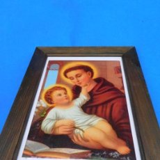 Arte: SAN ANTONIO DE PADUA, LÁMINA SOBRE TABLA, MARCO DE MADERA, 36 X 27 CM, CRISTAL. PASPT.. Lote 147408638