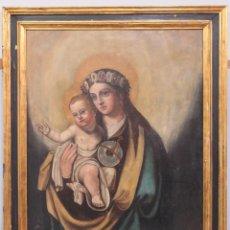 Arte: BONITA VIRGEN CON NIÑO DE LA BOLA. OLEO S/ LIENZO. SIGLO XVII. Lote 147453146