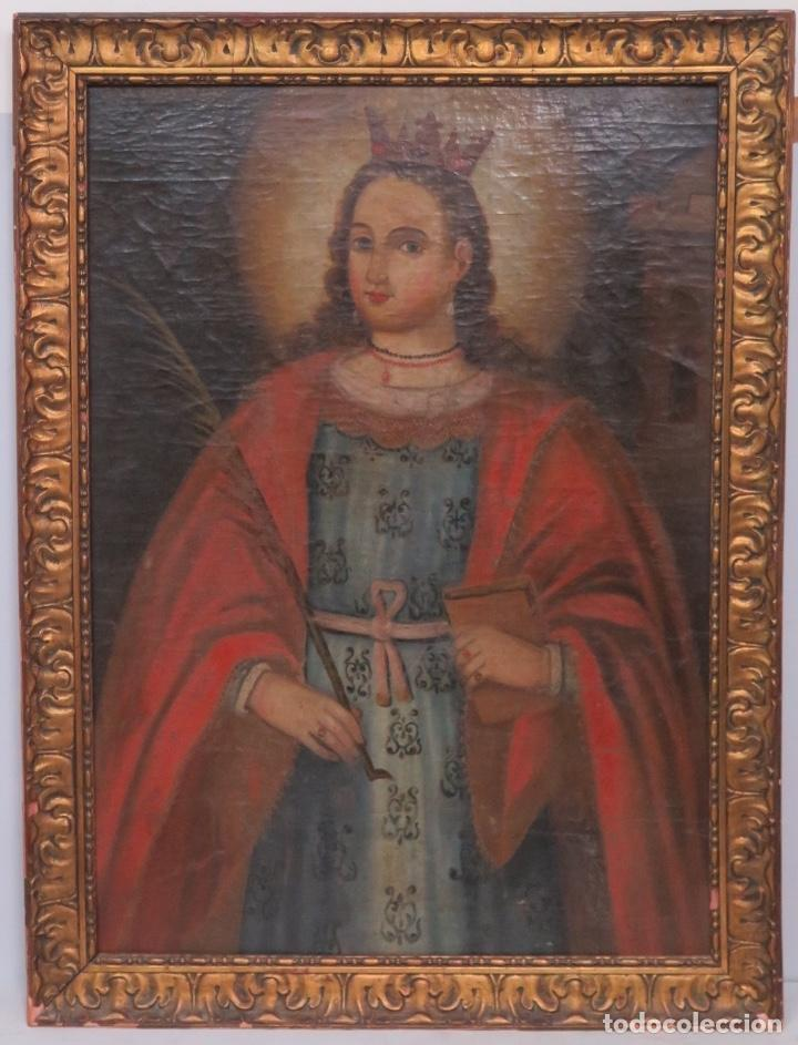 ANTIGUA SANTA BARBARA. OLEO SOBRE LIENZO. SIGLO XVII (Arte - Arte Religioso - Pintura Religiosa - Oleo)