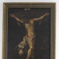 Arte: B- 796. OLEO SOBRE LIENZO, SAN FRANCISCO A LOS PIES DE JESUCRISTO EN LA CRUZ. S.XVIII.. Lote 156917568