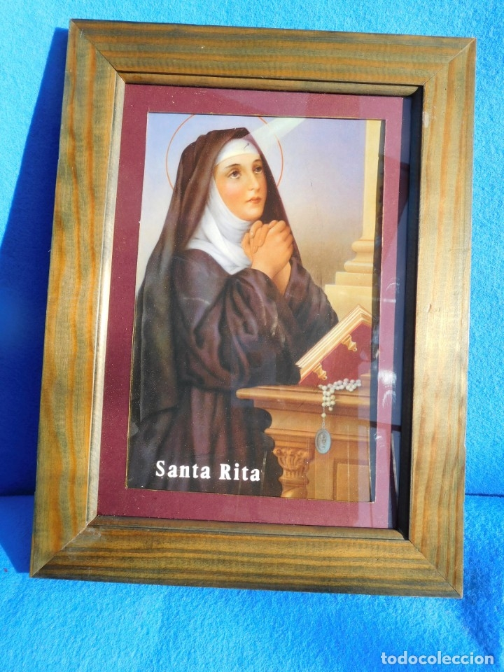 SANTA RITA, IMITACIÓN ÓLEO, LÁMINA SOBRE TABLA 28X17, MARCO DE MADERA, 36 X 27 CM, CRISTAL. PASPT. (Arte - Arte Religioso - Pintura Religiosa - Otros)