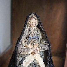 Arte: VIRGEN CAP I POTA, VESTIDERA, TALLA DE MADERA. HORNACINA EN MUY BUEN ESTADO. Lote 147554406