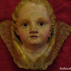 Arte: PRECIOSA CABEZA DE ANGEL EN MADERA POLICROMADA CON OJOS DE CRISTAL. Lote 147604494