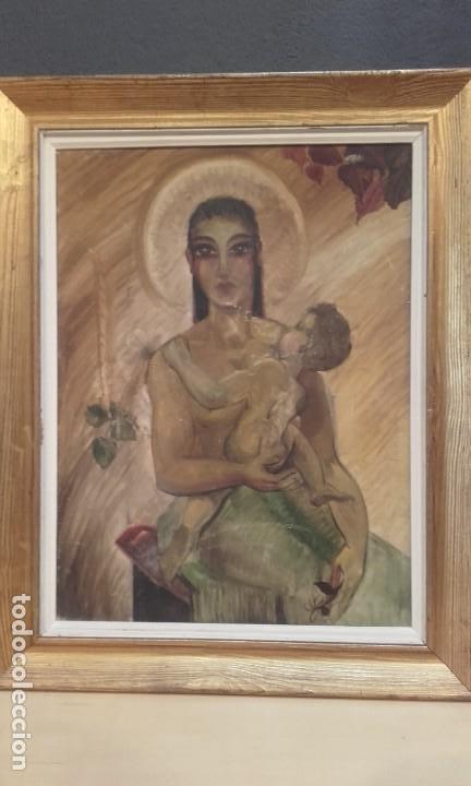 Arte: Virgen con Niño / óleo - Foto 2 - 147608926