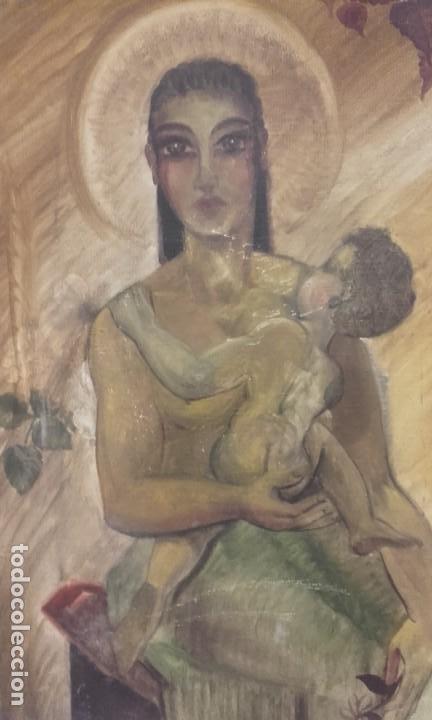 VIRGEN CON NIÑO / ÓLEO (Arte - Arte Religioso - Pintura Religiosa - Oleo)