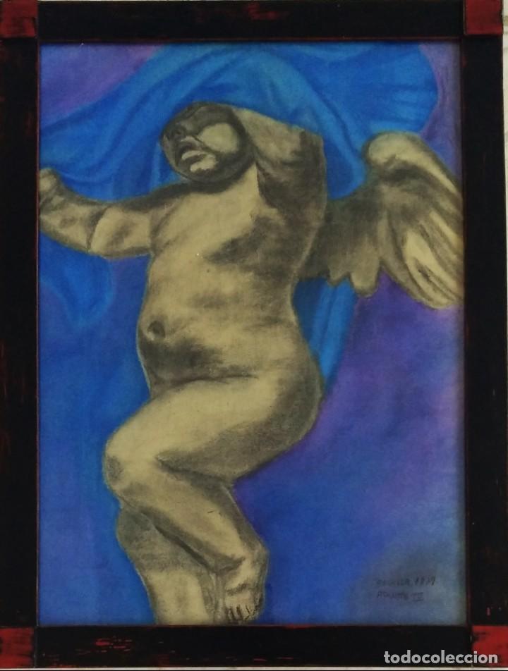 ANGELOTE, DIBUJO A CERAS DE 1879. (Arte - Arte Religioso - Pintura Religiosa - Oleo)