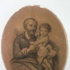 Arte: DIBUJO ORIGINAL A LÁPIZ DE 1876 , FIRMADO CON INICIALES E.R. - RELIGIOSO - OVALADO. Lote 147762274